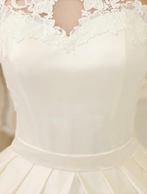 Elfenbeinfarbenes Ballkleid Jewel Neck Bow Bodenlanges Satin Brautkleid Exklusiv_9
