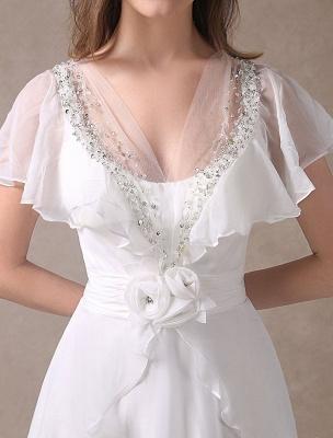Glamorous Court Schleppe Elfenbein Brautkleid mit Perlenstickerei V-Ausschnitt Exklusiv_9