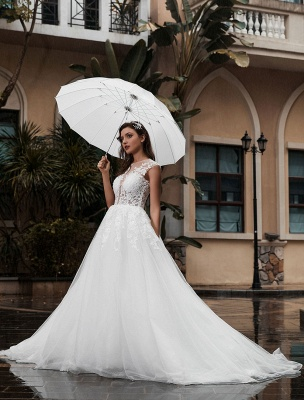 Preises Brautkleid Spitze Mieder Tüll Satin Stoff Sweep Zug Applikation Brautkleid Exklusiv Wedding_3