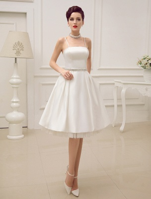 Vintage Spaghetti Straps Backless Satin Short Wedding Dress With Pearls At Waist Exclusive_1