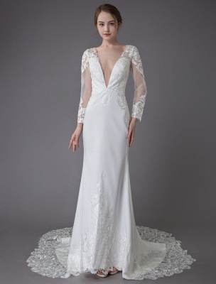 Beach Wedding Dresses Ivory Lace V Neck Long Sleeve Mermaid Bridal Gown With Train Exclusive_4