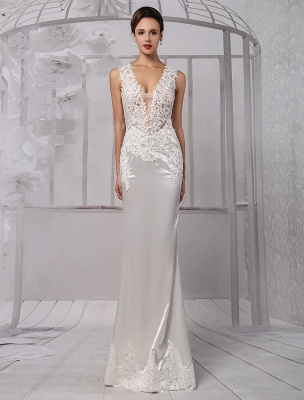 Sexy Lace Deep V-Neck Beaded Sheath/Column Illusion Back Bridal Gown Exclusive_2