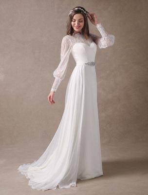 Weiße Brautkleider Langarm Spitze Chiffon Perlenstickerei Schärpe Illusion Strand Brautkleid Mit Zug Exklusiv_5
