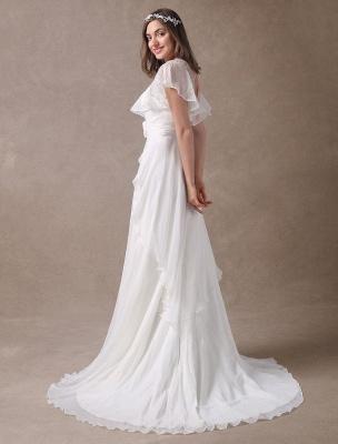 Glamorous Court Schleppe Elfenbein Brautkleid mit Perlenstickerei V-Ausschnitt Exklusiv_8
