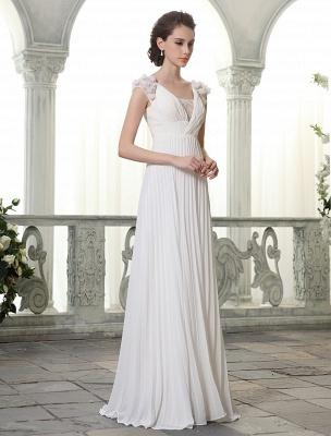Beach Wedding Dresses V Neck Chiffon Summer Bridal Dress Chiffon Flowers Beading Pleated Floor Length Wedding Gown Exclusive_3