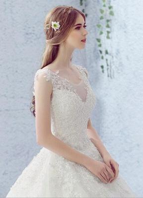 Vestido de novia de encaje Escote redondo Sin mangas Satén Red Vestido de novia con cordones y cuentas_3