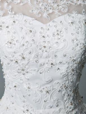 Vestido de novia vintage Hasta el té Cuello joya Sin mangas Una línea Cintura natural Tul Vestido de novia corto Exclusivo_7