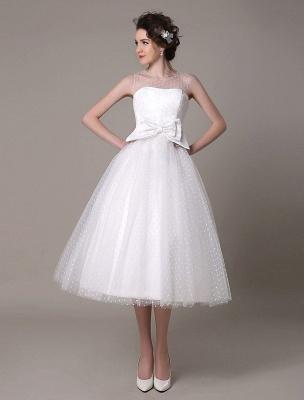 Vestido de novia de tul Sin tirantes Una línea Hasta el té Vestido de novia con lazo Exclusivo_3