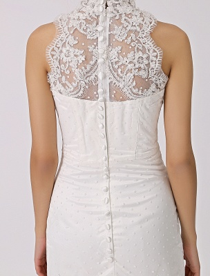 Vintage Inspired Illusion Neck Sheath/Column Wedding Dress With Lace Overlay Exclusive_8