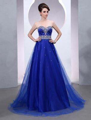 Blaues Abendkleid 2021 Langes Tüll Brautkleid Royal Blue Backless Strapless Sweetheart Court Train Brautkleid_1