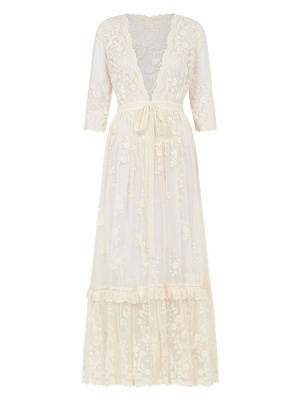 Boho Wedding Dress Suit 2021 V Neck Floor Length Lace Multilayer Bridal Gown Dress And Outfit_9
