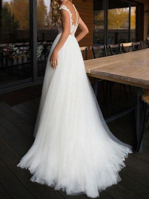 Wedding Dresses 2021 Illusion Neck Short Sleeve Floor Length Lace Soft Tulle Beach Bridal Gowns For Boho Wedding_2