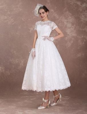 Lace Wedding Dresses Short Sleeve 1950'S Vintage Bridal Dress Sweetheart Illusion Ivory A Line Tea Length Wedding Reception Dress Exclusive_6