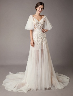 Boho Wedding Dresses Tulle Lace V Neck Butterfly Sleeve Backless Summer Beach Bridal Gowns_5