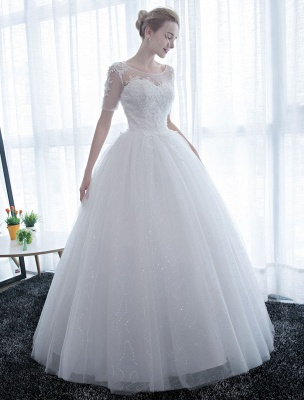 Ivory Wedding Dress Princess Ball Gown Bridal Dress Half Sleeve Lace Applique Pearls Beaded Sweetheart Floor Length Bridal Gown_2