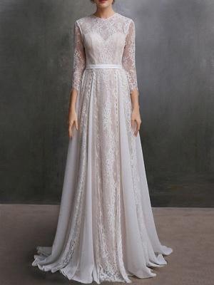 Brautkleid mit Zug A-Linie mit langen Ärmeln Chiffon Jewel Neck Elfenbein Brautkleider_1