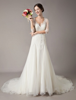 Wedding Dresses A Line Ivory V Neck Lace Tulle Half Sleeve Bridal Dress With Train_1