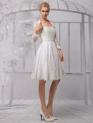 Knielanges Brautkleid aus Satin und Spitze mit Spitze, Langarm-Wrap Exklusiv_6