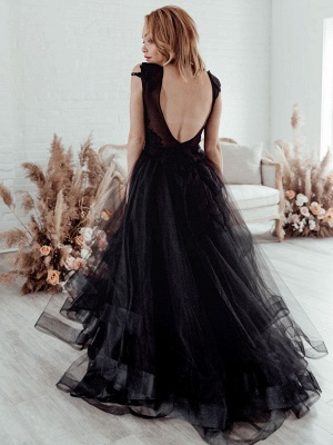 Black Bridal Dress A-Line Illusion Neckline Sleeveless Backless Applique Floor-Length Lace Tulle Bridal Gowns_4