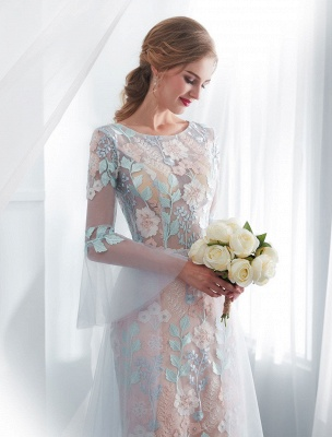Colored Wedding Dresses Baby Blue Lace Long Sleeve Bridal Dress With Train_7