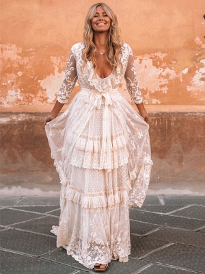 Boho Wedding Dress Suit 2021 V Neck Floor Length Lace Multilayer Bridal Gown Dress And Outfit_3