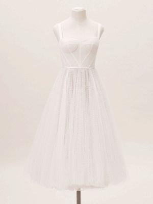 Weißes kurzes Brautkleid T-Länge A-Linie Schatz-Perlen Spaghetti-Trägern Tee-Länge Kleid_4