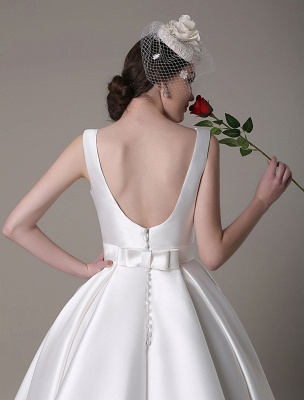 Ivory Wedding Dress Scoop Backless Knee Length Satin Wedding Gown Exclusive_12