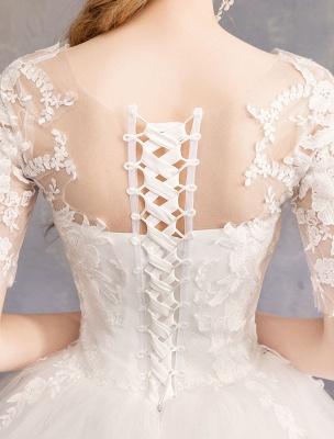 Vestidos de novia de encaje Marfil Escote de ilusión La mitad de manga Hasta el suelo Vestido de novia de princesa_9