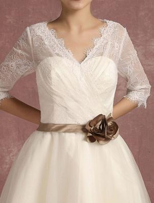 Vintage Brautkleid Kurze Spitze Tüll Brautkleid Halbarm V-Ausschnitt Backless A-Linie Blume Schärpe Tee Länge Brautkleid Exklusiv_9
