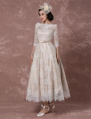 Lace Wedding Dress Vintage Bateau Champagne Half Sleeves Bridal Gown A Line Backless Tea Length Sash Reception Bridal Dress Exclusive_5
