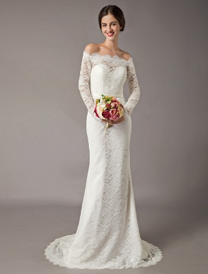 Lace Wedding Dresses Off The Shoulder Long Sleeve Beaded Sash Bridal Gowns With Train_2