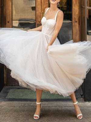 Weißes kurzes Brautkleid T-Länge A-Linie Schatz-Perlen Spaghetti-Trägern Tee-Länge Kleid_7