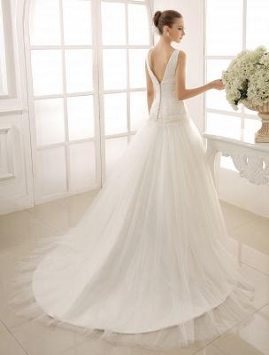 V-Neck Mermaid Brides Wedding Dress With Flowers Detailing_8