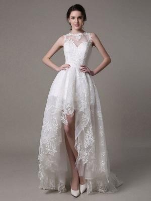 2021 Lace High-Low Brautkleid mit Llusion-Ausschnitt und Rücken exklusiv_1