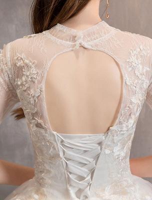 Tüll Brautkleider Elfenbein Illusion Ausschnitt Halbarm Bodenlangen Prinzessin Brautkleid_11