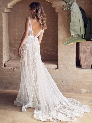 Wedding Dress With Train A Line Sleeveless Lace V Neck Bridal Gowns_3