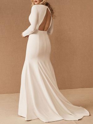 Einfache Brautkleider mit langen Ärmeln V-Ausschnitt Meerjungfrau-Hochzeitsfest-Kleid_2
