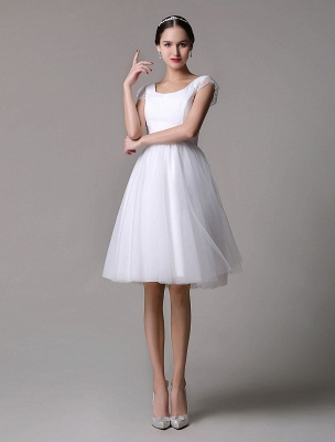 Simple Wedding Dresses Tulle Scoop Neck Knee Length Short Bridal Dress With Lace Cap Sleeves_3