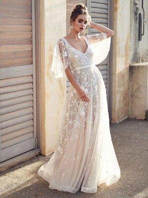 White Lace Wedding Dress V Neck A-Line Wedding Dress Short Sleeves Backless Bridal Dresses_1