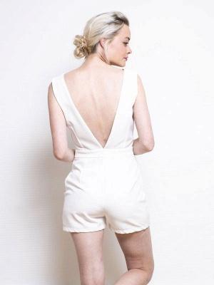 Weißes einfaches Hochzeitskleid A-Linie V-Ausschnitt Halbarm Rückenfrei Tüll Satin Stoff Lange Brautkleider_7