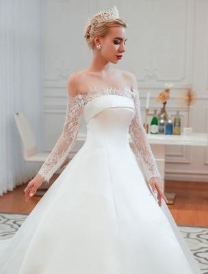Vintage Brautkleid 2021 Schulterfrei Langarm Prinzessin Satin bodenlangen Brautkleider mit Zug With_4
