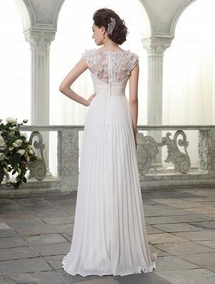 Beach Wedding Dresses V Neck Chiffon Summer Bridal Dress Chiffon Flowers Beading Pleated Floor Length Wedding Gown Exclusive_4