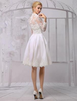 Knielanges Brautkleid aus Satin und Spitze mit Spitze, Langarm-Wrap Exklusiv_2