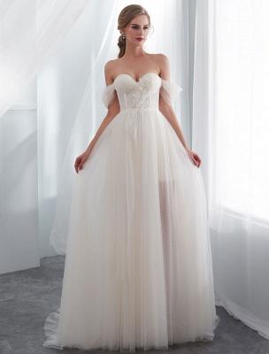 Brautkleider Tüll Elfenbein Schulterfrei Sweetheart Beach Brautkleid mit Schleppe_1