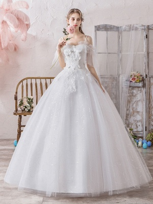 Ball Gown Wedding Dress Princess Silhouette Off The Shoulder Short Sleeves Natural Waist Floor Length Bridal Gowns_1