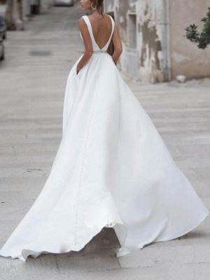 Einfache Brautkleider A-Linie V-Ausschnitt Ärmellose Schärpe Bodenlangen Brautkleider Mit Zug_2