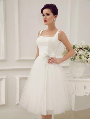 Simple Wedding Dresses Satin Square Neck Applique Short Bridal Dress With Beading Bow Sash Exclusive_5