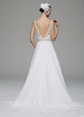 Ivory Wedding Dress Illusion Rhinestone Lace Satin Wedding Gown_5