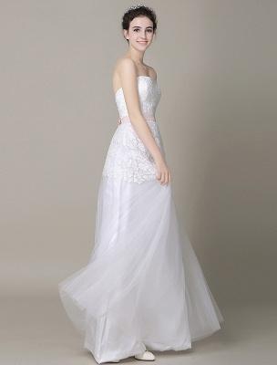 Elfenbein-Hochzeit-Kleid-Trägerlos-Rückenlos-Schärpe-Tüll-Brautkleid-ExklusivEx_4