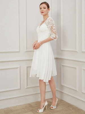 Ivory Short Wedding Dress Knee Length V Neck Half Sleeves A Line Natural Waist Chiffon Bridal Dresses_4